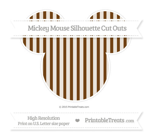 Free Sepia Striped Extra Large Mickey Mouse Silhouette Cut Outs