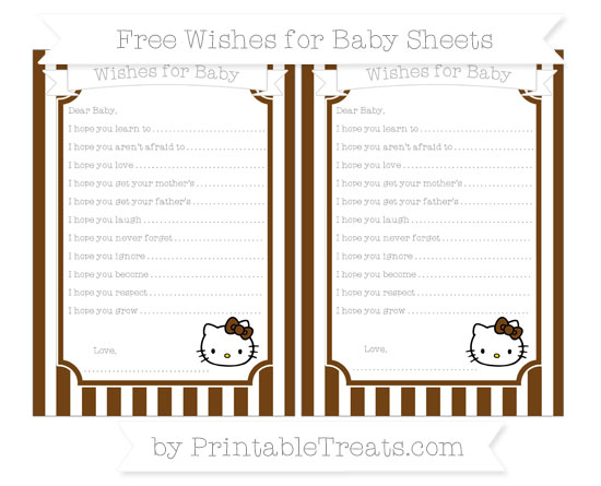 Free Sepia Striped Hello Kitty Wishes for Baby Sheets