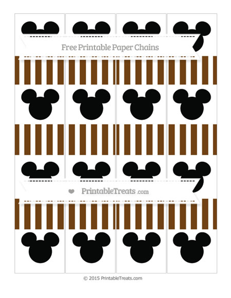 Free Sepia Striped Mickey Mouse Paper Chains