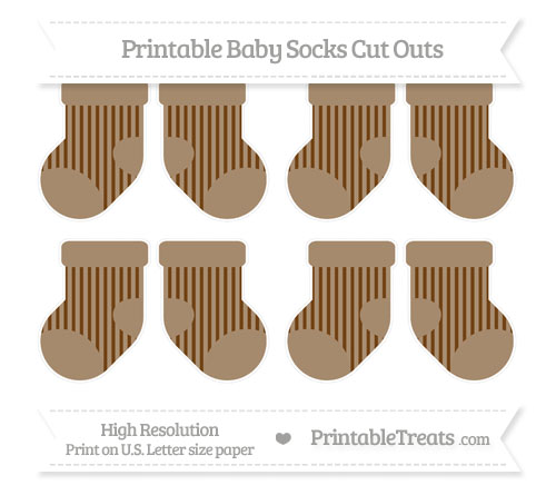 Free Sepia Striped Small Baby Socks Cut Outs