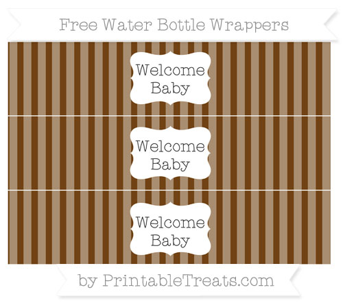 Free Sepia Striped Welcome Baby Water Bottle Wrappers