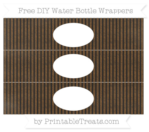 Free Sepia Thin Striped Pattern Chalk Style DIY Water Bottle Wrappers