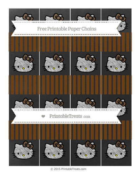 Free Sepia Thin Striped Pattern Chalk Style Hello Kitty Paper Chains