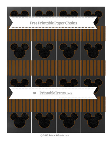 Free Sepia Thin Striped Pattern Chalk Style Mickey Mouse Paper Chains