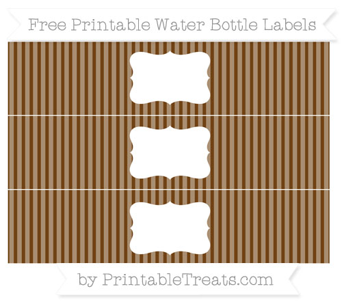 Free Sepia Thin Striped Pattern Water Bottle Labels