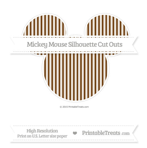 Free Sepia Thin Striped Pattern Extra Large Mickey Mouse Silhouette Cut Outs