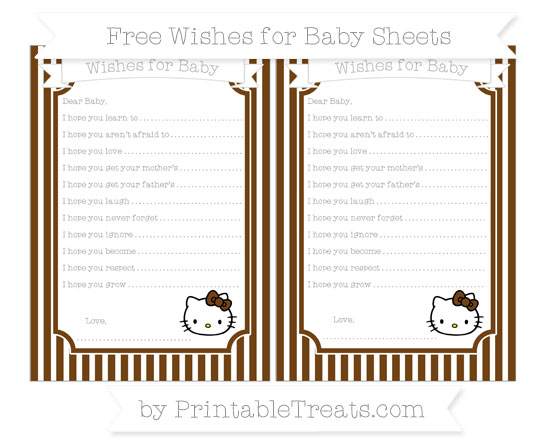 Free Sepia Thin Striped Pattern Hello Kitty Wishes for Baby Sheets