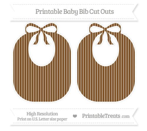 Free Sepia Thin Striped Pattern Large Baby Bib Cut Outs