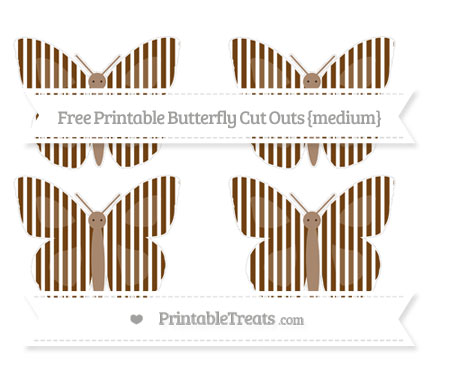 Free Sepia Thin Striped Pattern Medium Butterfly Cut Outs