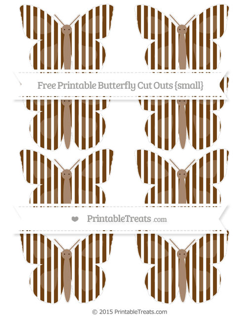 Free Sepia Thin Striped Pattern Small Butterfly Cut Outs