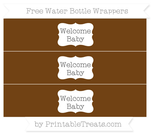 Free Sepia Welcome Baby Water Bottle Wrappers