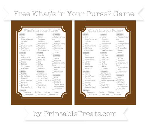 Free Sepia What's in Your Purse Baby Shower Game