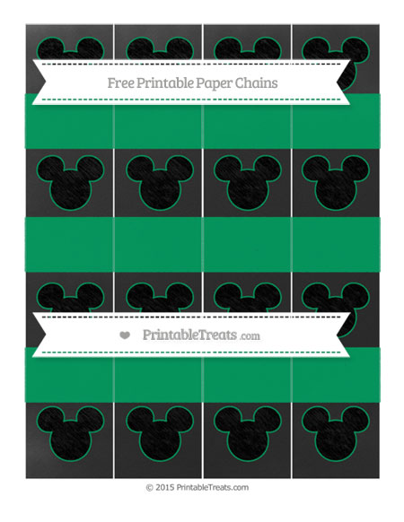 Free Shamrock Green Chalk Style Mickey Mouse Paper Chains