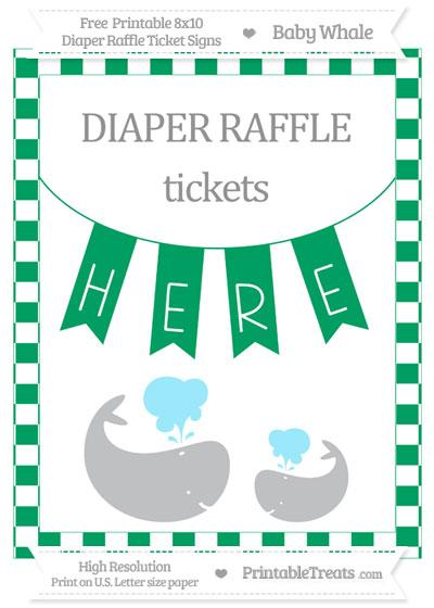Free Shamrock Green Checker Pattern Baby Whale 8x10 Diaper Raffle Ticket Sign