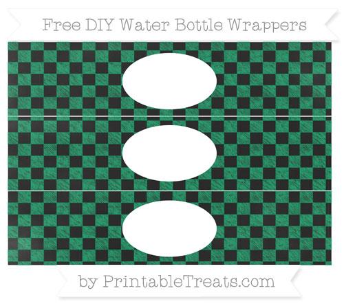 Free Shamrock Green Checker Pattern Chalk Style DIY Water Bottle Wrappers