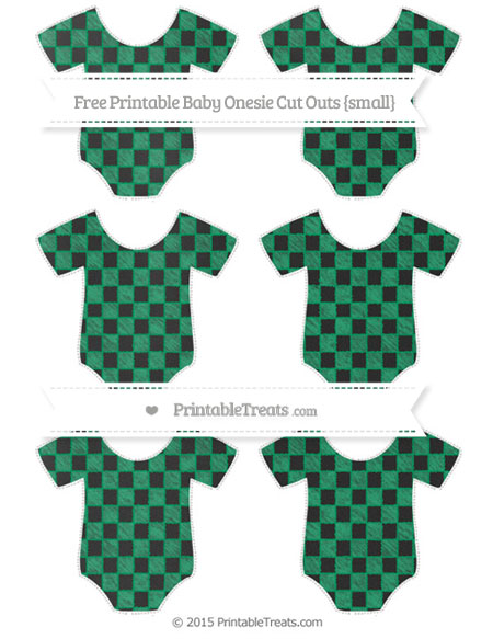 Free Shamrock Green Checker Pattern Chalk Style Small Baby Onesie Cut Outs