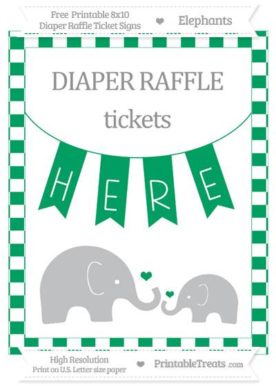Free Shamrock Green Checker Pattern Elephant 8x10 Diaper Raffle Ticket Sign
