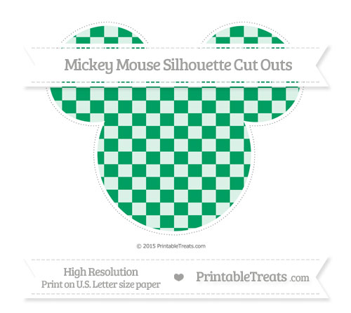 Free Shamrock Green Checker Pattern Extra Large Mickey Mouse Silhouette Cut Outs