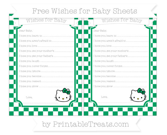 Free Shamrock Green Checker Pattern Hello Kitty Wishes for Baby Sheets