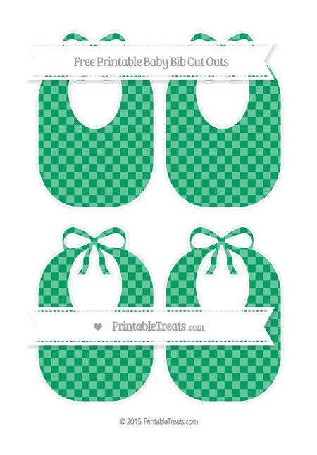 Free Shamrock Green Checker Pattern Medium Baby Bib Cut Outs