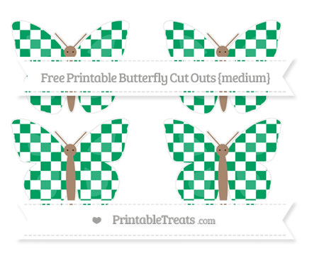 Free Shamrock Green Checker Pattern Medium Butterfly Cut Outs