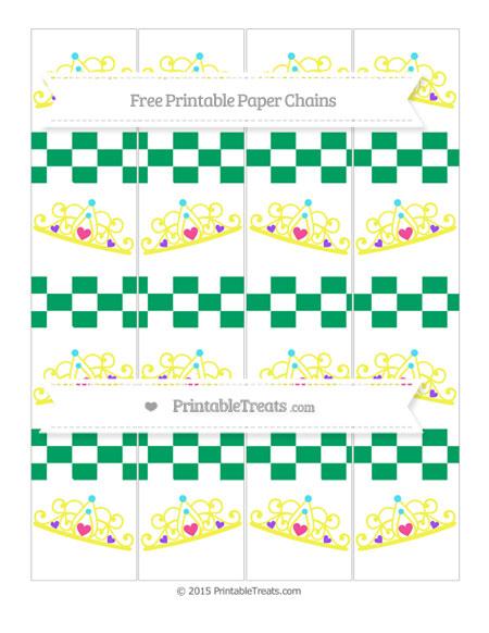 Free Shamrock Green Checker Pattern Princess Tiara Paper Chains