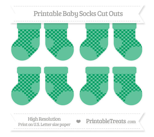 Free Shamrock Green Checker Pattern Small Baby Socks Cut Outs