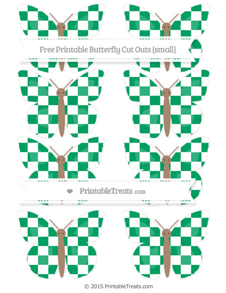 Free Shamrock Green Checker Pattern Small Butterfly Cut Outs