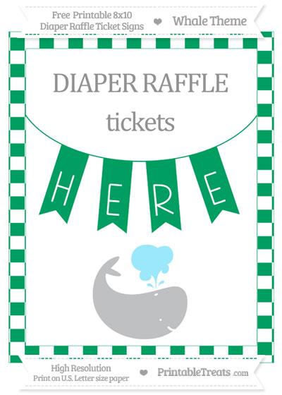 Free Shamrock Green Checker Pattern Whale 8x10 Diaper Raffle Ticket Sign