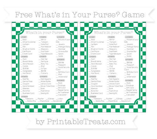Free Shamrock Green Checker Pattern What's in Your Purse Baby Shower Game