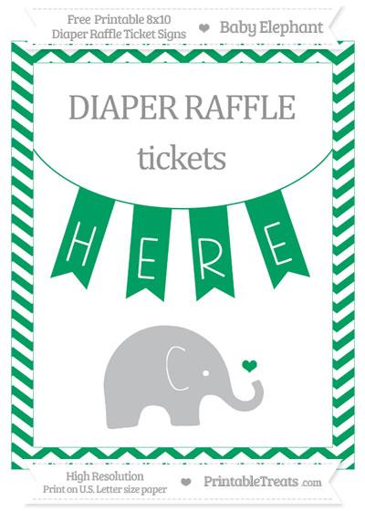 Free Shamrock Green Chevron Baby Elephant 8x10 Diaper Raffle Ticket Sign