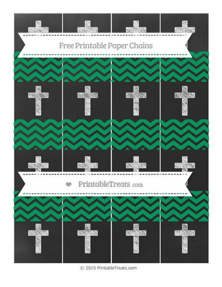 Free Shamrock Green Chevron Chalk Style Cross Paper Chains