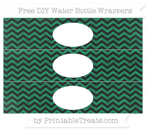 Free Shamrock Green Chevron Chalk Style DIY Water Bottle Wrappers
