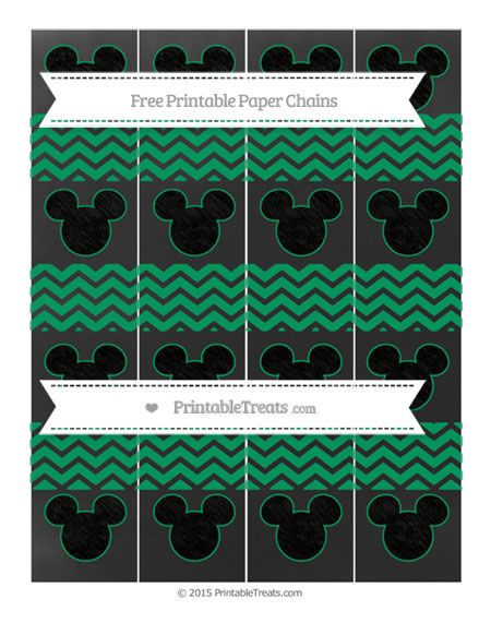 Free Shamrock Green Chevron Chalk Style Mickey Mouse Paper Chains