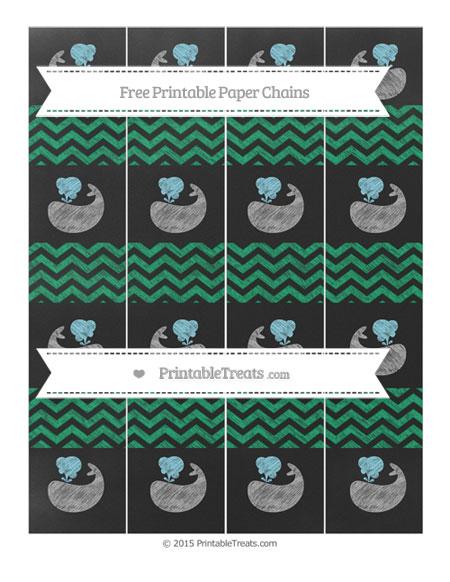 Free Shamrock Green Chevron Chalk Style Whale Paper Chains