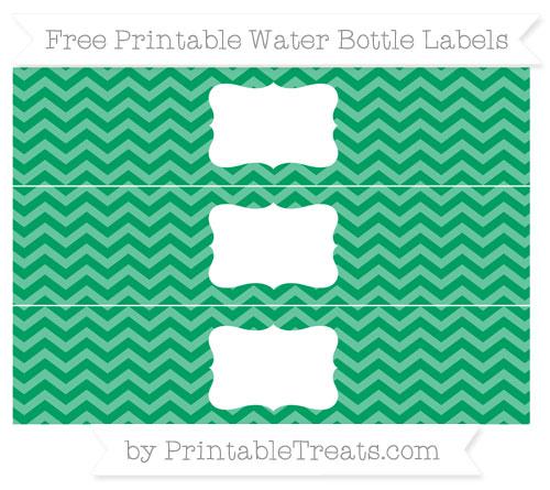 Free Shamrock Green Chevron Water Bottle Labels