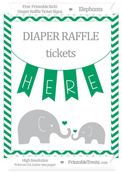 Free Shamrock Green Chevron Elephant 8x10 Diaper Raffle Ticket Sign