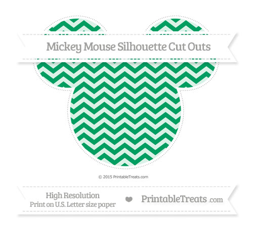 Free Shamrock Green Chevron Extra Large Mickey Mouse Silhouette Cut Outs