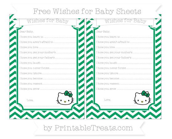 Free Shamrock Green Chevron Hello Kitty Wishes for Baby Sheets