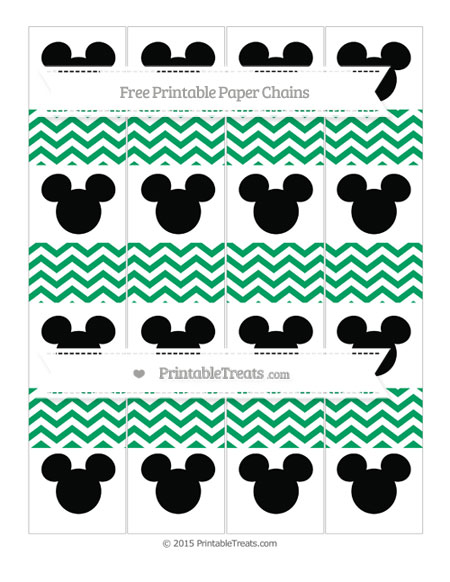 Free Shamrock Green Chevron Mickey Mouse Paper Chains