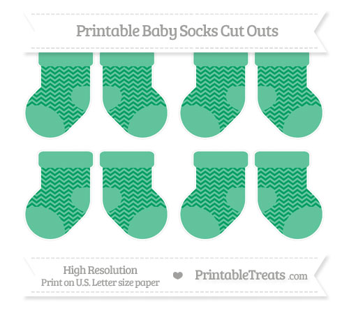 Free Shamrock Green Chevron Small Baby Socks Cut Outs