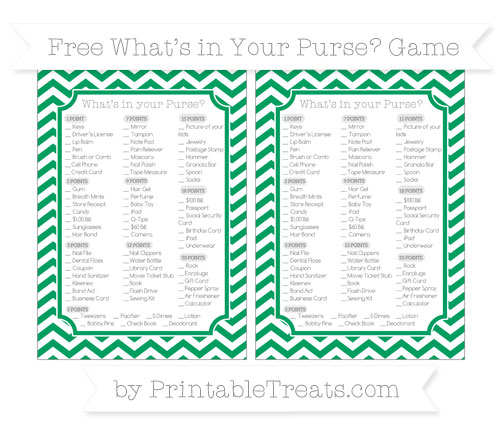 Free Shamrock Green Chevron What's in Your Purse Baby Shower Game