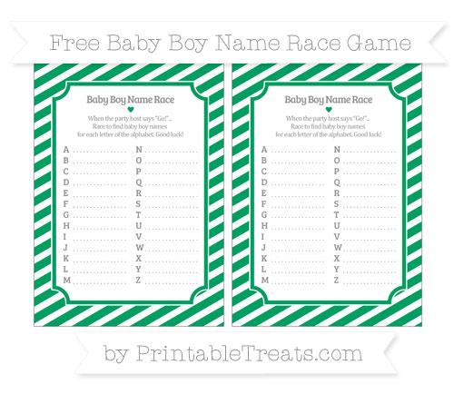 Free Shamrock Green Diagonal Striped Baby Boy Name Race Game
