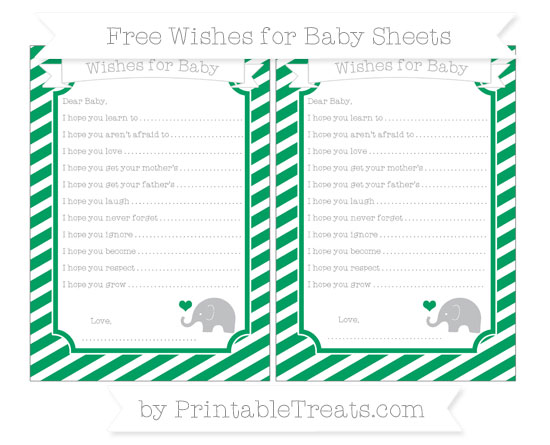 Free Shamrock Green Diagonal Striped Baby Elephant Wishes for Baby Sheets