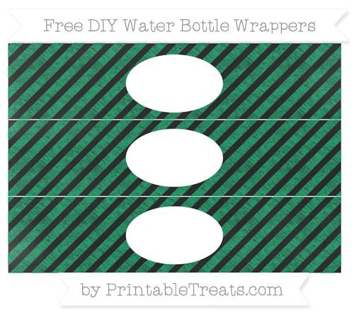 Free Shamrock Green Diagonal Striped Chalk Style DIY Water Bottle Wrappers