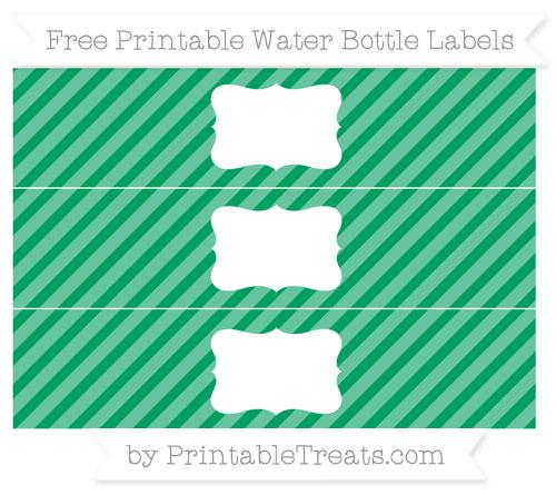 Free Shamrock Green Diagonal Striped Water Bottle Labels
