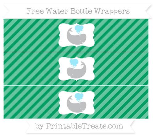 Free Shamrock Green Diagonal Striped Whale Water Bottle Wrappers