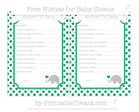 Free Shamrock Green Dotted Pattern Baby Elephant Wishes for Baby Sheets