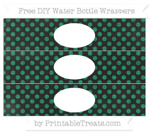 Free Shamrock Green Dotted Pattern Chalk Style DIY Water Bottle Wrappers