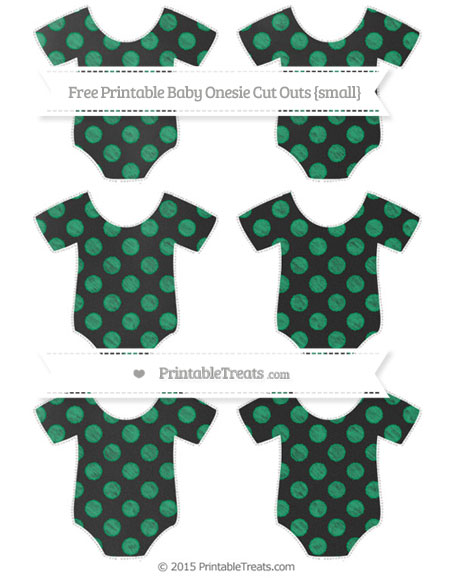 Free Shamrock Green Dotted Pattern Chalk Style Small Baby Onesie Cut Outs